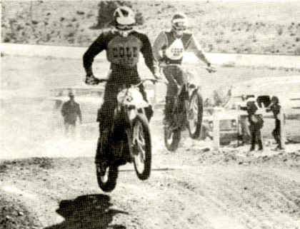 Chuck Lanzarone leads Don Hicks over the jumps at Valley Cycle Park.   Not too much later. Hicks passed Chuck and went on for the win.   Heidbrmk photo.